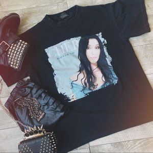 """Vintage black CHER """"I Believe"""" 1999 tour t-shirt"""